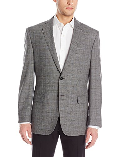 Calvin Klein Men's Malik Grey Plaid 2 Button Side Vent Sport Coat, Grey, 40 Regular