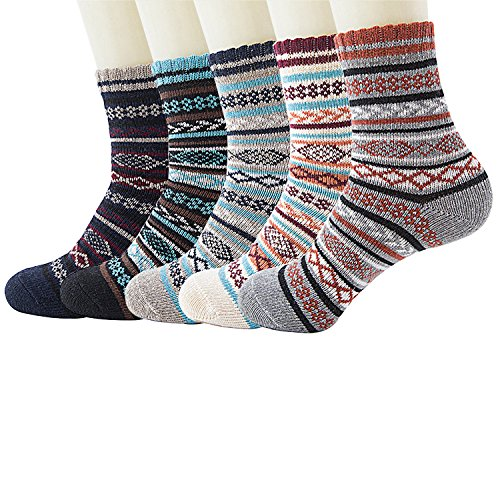 Pack of 5 Womens Thick Knit Warm Casual Wool Crew Winter Socks, Size 5 to 10