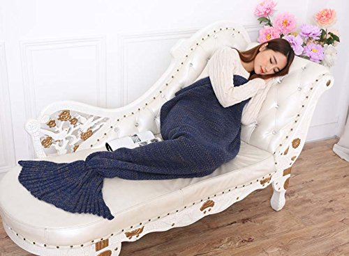 yiyuanshuijing 2016 Latest Knitted Mermaid Tail Blanket and Mermaid Blanket Best Gift for Adult and Kids, All Seasons Super Soft Sleeping Bags, 75″34″ (Navy)