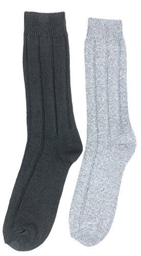 K. Bell Mens Cashmere Blend Crew Socks (2 Pair) Black, Gray