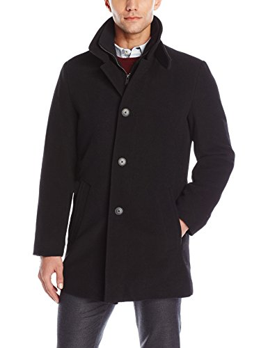 Calvin Klein Men's Coleman 34 Overcoat with Knit Bib, Black, 42