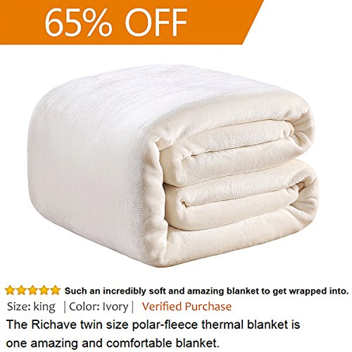 Twin Polar 330GSM Fleece Thermal Blanket Ivory Extra Soft Brush Fabric Super Warm Bed Blanket Lightweight Couch Blanket Easy Care 66″ x 90″(Ivory Twin)