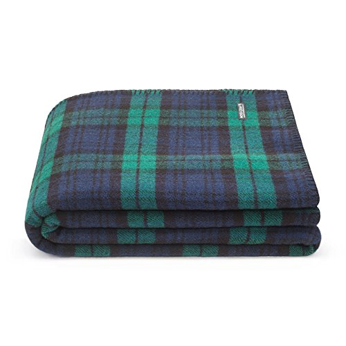 Pure Wool Blanket 100%. Throw blanket for home and camping. Plaid nice for babies children. Twin size 140×180 warm and washable wool blanket size bed Woolkrafts(without leather holder, Blue/Green)