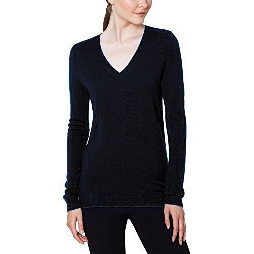 Magaschoni Women's V-Neck Sweater BLACK x-large