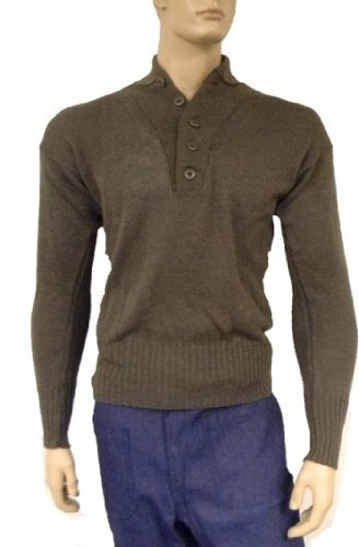 US Army Military 5 Button Sweater Geniune Issue 100% Knitted Wool Brown
