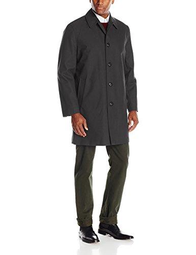 London Fog Men's Waterproof Breathable Wool Lined Balmaccan Top Coat, Black Twill,40 Regular