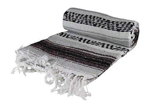 Authentic 6′ x 5′ Mexican Siesta Blanket (Grey)