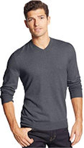 Club Room Mens Merino Wool Blend Heathered Pullover Sweater Gray L