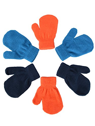 Mudder 3 Pairs Baby Gloves Stretch Knitted Glove Boys Mittens Gloves for Little Baby Boys Infants