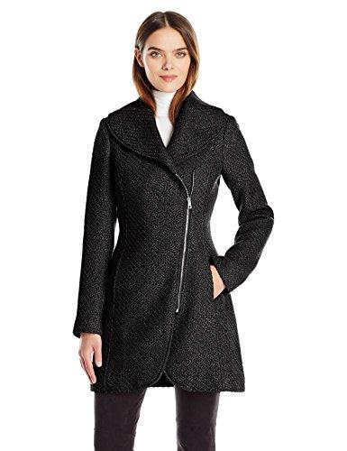 Jessica Simpson Women's Wool Zip Up Coat, Black, S