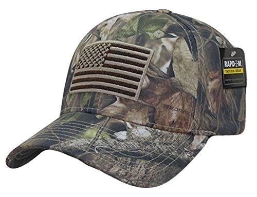 US American Flag Hybricam Mossy Camouflage Camo Baseball Cap (One Size, Camo)