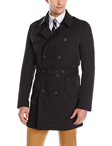 Calvin Klein Men's Meteor DB Trench Coat, Black, 48