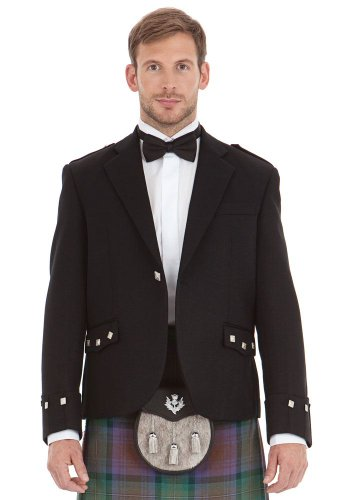 Mens Scottish Black Argyll Kilt Jacket Size: 40L