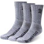 Buttons & Pleats Premium Merino Wool Hiking Socks Outdoor Trail Crew Socks 3 Pairs Charcoal ML