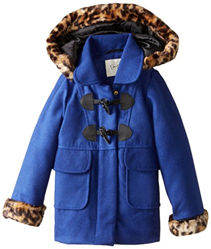 Jessica Simpson Little Girls' Toddler Print Trim Faux Wool Coat, Blue, 4T