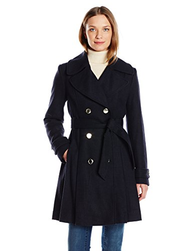 Jessica Simpson Women's Wrap Double Breasted Peacoat, Navy, L