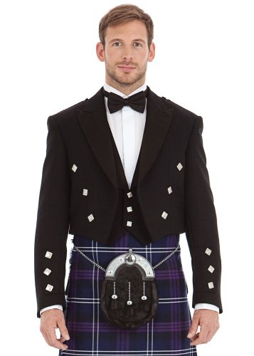 Mens Scottish Black Prince Charlie and 3 Button Vest Size: 48R