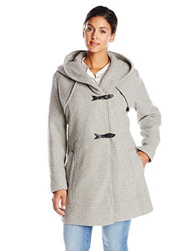 Jessica Simpson Women's Plus-Size Braided Wool-Blend Toggle Coat, Grey, 2X
