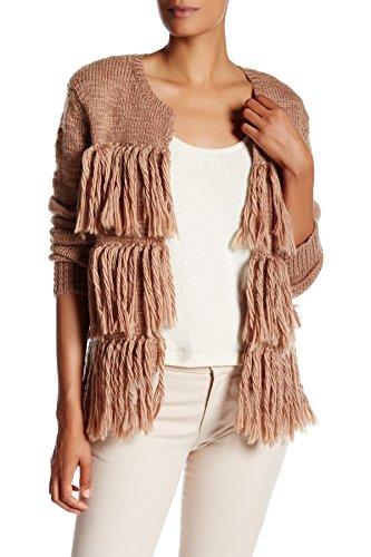 Trina Turk Women's Alexandria Fringe Merino Wool Sweater, Camel, Small