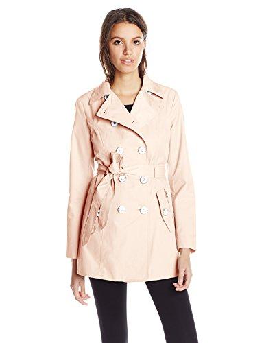 Jessica Simpson Women's Double-Breasted Raincoat, Blush, Large
