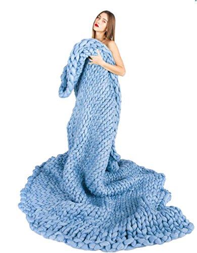 Besporter 120150CM Handmade Giant Chunky Merino Wool Knit Throw Sofa Blanket Hand-woven Bulky Blanket Home Decor Gift
