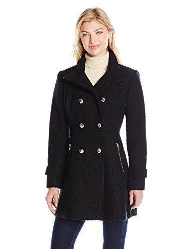Jessica Simpson Women's Military Fit and Flair Wool Coat, Black, L