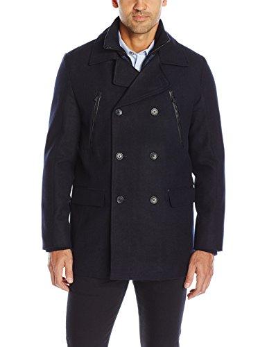 Calvin Klein Men's Wool Peacoat, Navy, SMALL