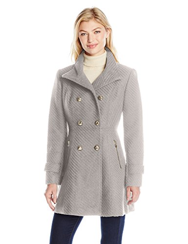 Jessica Simpson Women's Military Fit and Flair Wool Coat, Grey, M