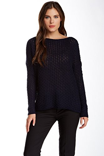 Vince Womens Navy Blue Mini-cable Sweater in Merino Wool Blend – Size Large