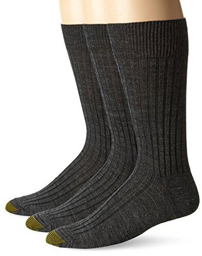 Gold Toe Men's Windsor Wool Dress Sock 3-Pack, Charcoal, Shoe Size 10 – 13