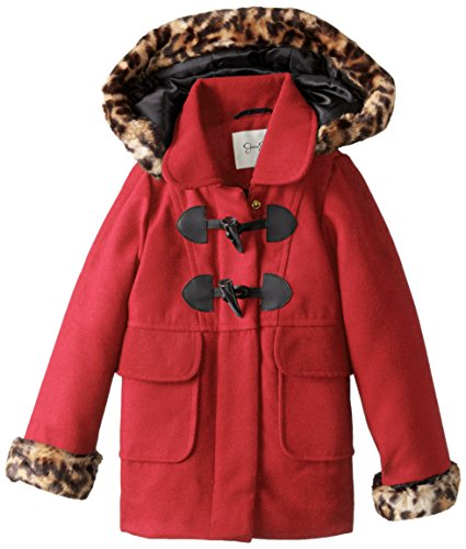 Jessica Simpson Little Girls' Toddler Print Trim Faux Wool Coat, Red, 2T