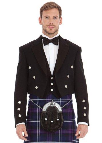 Mens Scottish Black Prince Charlie and 3 Button Vest Size: 44S