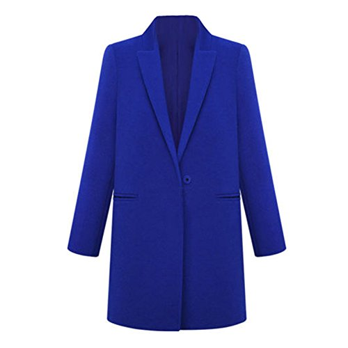 TOOGOO(R)Fashion Womens WOOL Cashmere Long Winter Coat Trench Blazer Suit Jacket Outwear Royal Blue – S