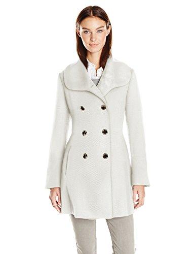 Jessica Simpson Women's Bell Sleeve Basketweave Wool Coat, Ivory, L