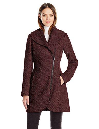 Jessica Simpson Women's Wool Zip up Coat, Boysen Berry, L