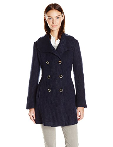 Jessica Simpson Women's Bell Sleeve Basketweave Wool Coat, Navy, L