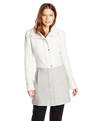 Jessica Simpson Women's Color Block Funnel Neck Wool Coat, Off White/Grey, X-Large