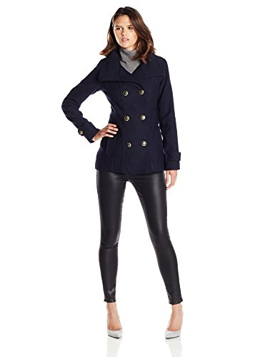 Jessica Simpson Women's Wool Peacoat with Gold Buttons, Navy, Large