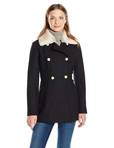 Jessica Simpson Women's Wool Military Coat with Faux Fur, Black, L