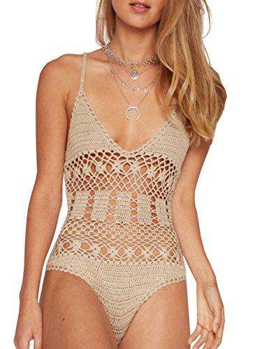 Berrygo Women's Sexy Deep V Neck Hollow Out Knitted Crochet Beach Bodysuit Jumpersuit Wool