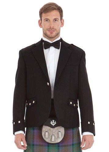 Mens Scottish Black Argyll Kilt Jacket Size: 48L