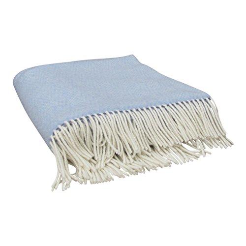 "Large Merino Cashmere Wool Blanket by John Hanly & Co. Ireland- Luxuriously Plush, Decorative Irish Woolen Throw 54"" x 71"" Light Blue with Cream Fringe"