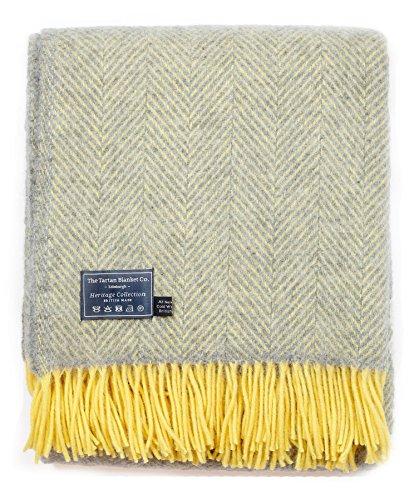 British Made New Wool Knee Blanket in Grey and Lemon Herringbone