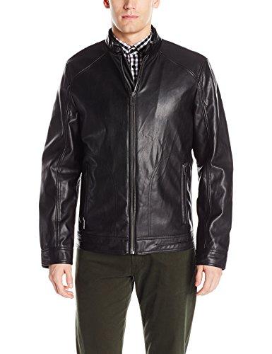 Calvin Klein Men's Smooth Faux Leather Moto Jacket, Black, Large