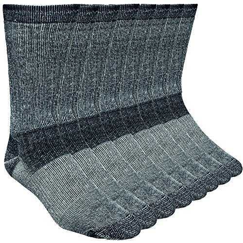 Working Person's 689 Black 4-Pack Merino Wool Hiking Socks – Made In The USA (Large)
