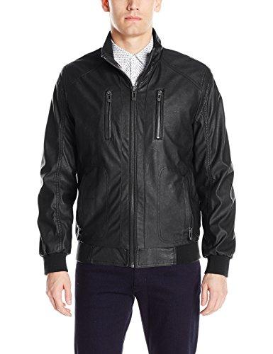 Calvin Klein Men's Faux Leather Bomber, Black, Medium