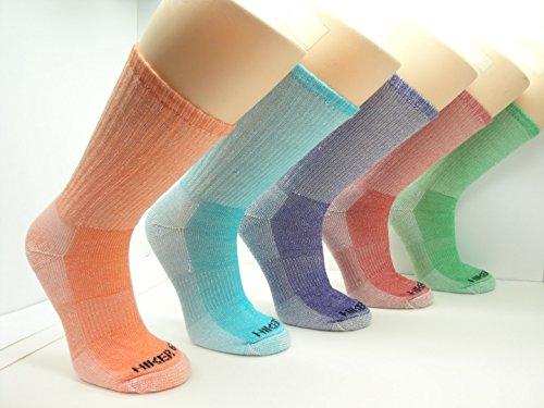 Womens Merino Wool Colorful Assorted Hiking Socks (3 PK) (Medium, Assortment 3(Purple/Red/Turquoise))