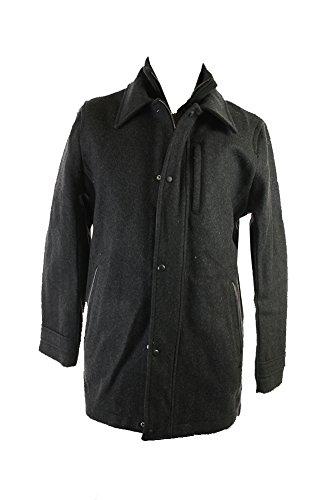 Calvin Klein Men's Wool Melton Carcoat, Charcoal, Large