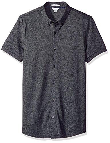 Calvin Klein Men's Short Sleeve Heather Coat Front Shirt, Black, MEDIUM