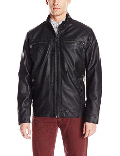 Calvin Klein Men's Faux Leather Open Bottom Jacket, Black, Large
